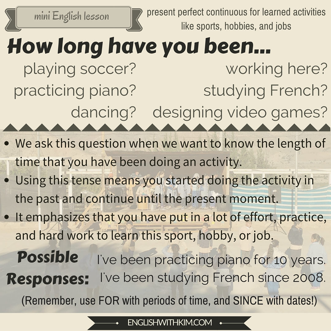 Mini English Lesson on How Long Have You Been Doing Something