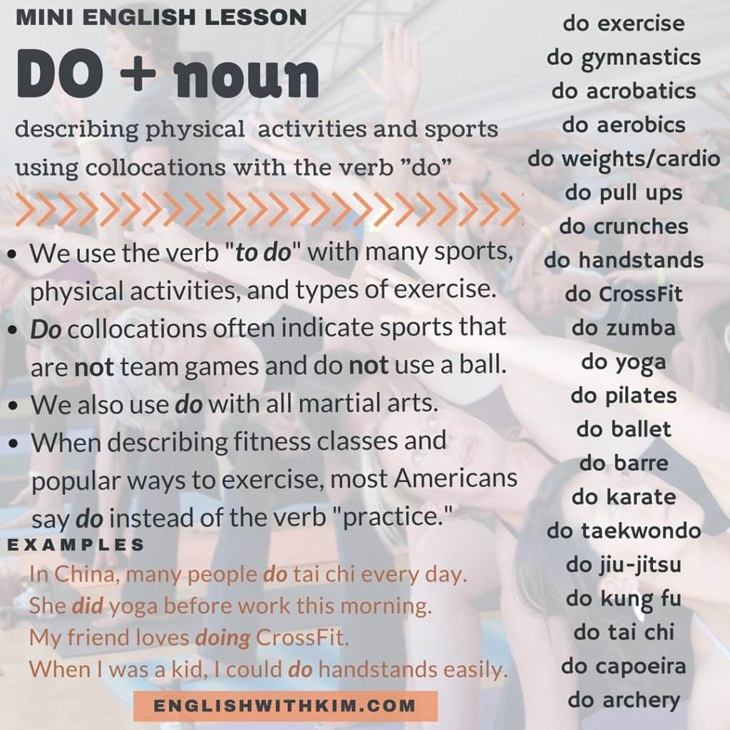 Do collocations for physical activities and sports