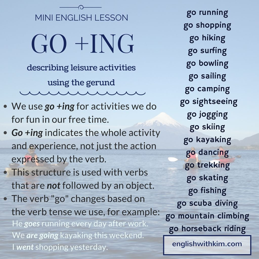 Mini English Lesson - Describing Leisure Activities Using Go and -Ing (Gerund)