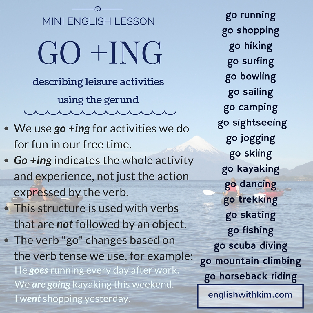 How To Use Go Ing The Gerund To Describe Fun Activities English