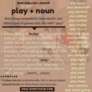 Play collocations for competitive sports and games