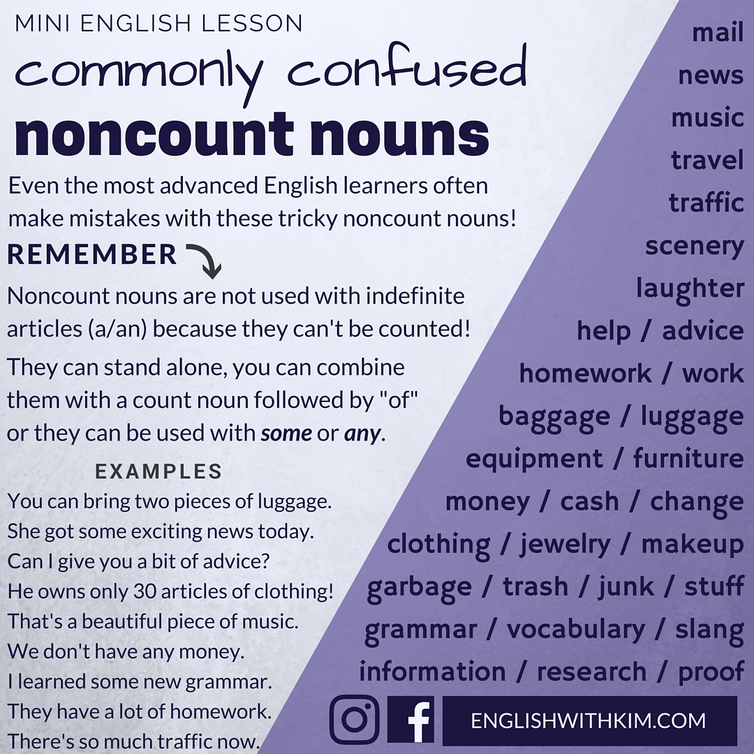 How To Use Commonly Confused Noncount Nouns Correctly