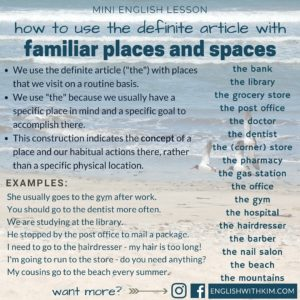 How to Use the Definite Article with Familiar Places and Spaces