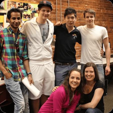 Kim with Boston Students